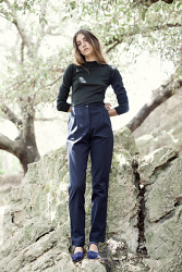 Masculine Blue Cotton Trousers
